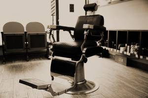 A rotating barber chair
